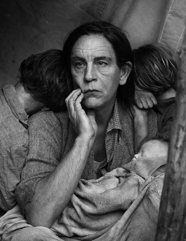 Depression-era Malkovich (John Malkovich Morphs Into the Most Iconic Photo Subjects Ever - Esquire)