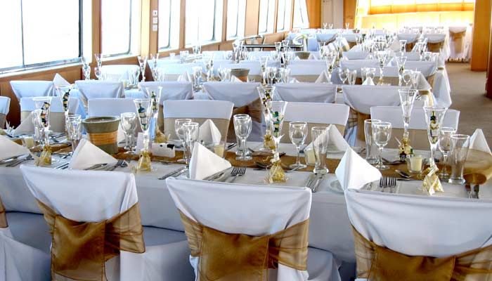 Gold themed wedding on board Showboat's Voyager www.showboat.net.au