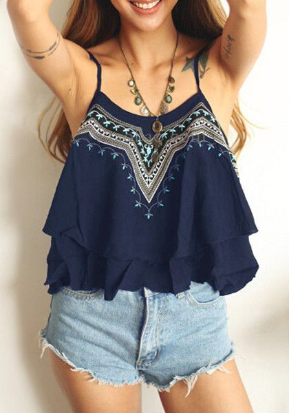 This embroidered navy cami top has adjustable thin straps on the shoulders so you have the option to wear it high or low in the neckline. Pair this top with pants and wraps sandals for some outdoor fun. | Lookbook Store Best Sellers