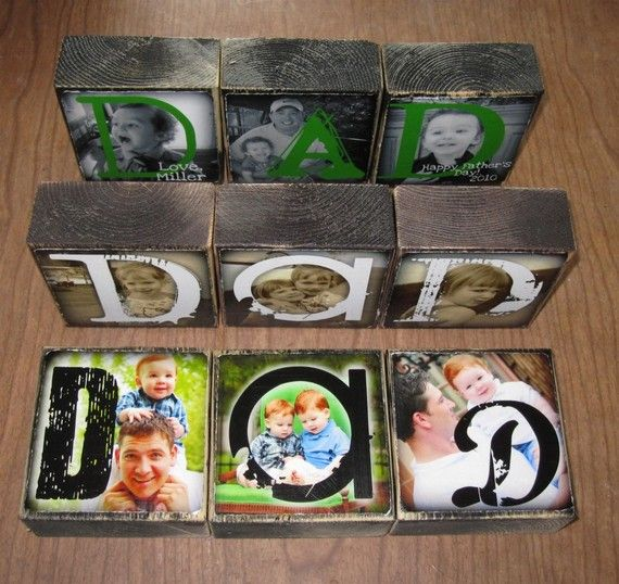 Love this idea.: Dad, Cheap Gift, Gift Ideas, Picture Block, Father'S Day, Fathersday, Fathers Day