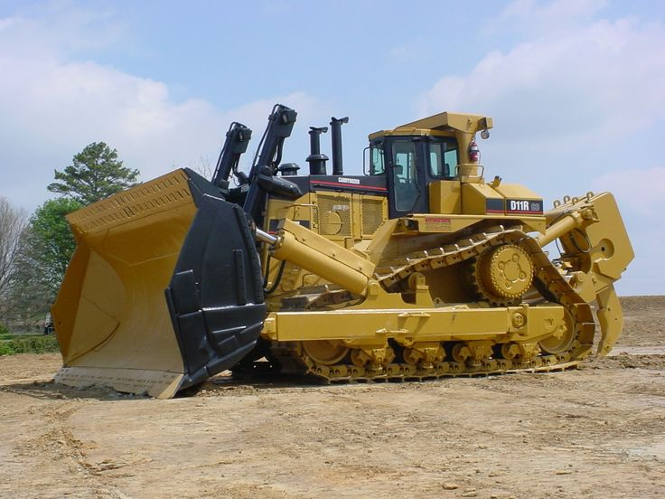 D11.Introduced in 1996 is this 850hp,249,500 pound Caterpillar D11R CD Carrydozer.The blade can push 57.9 yards if earth in a single pass