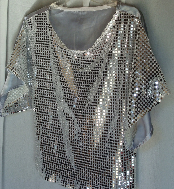 silver sequin blouse by TotallyUnigueThings on Etsy, $25.00
