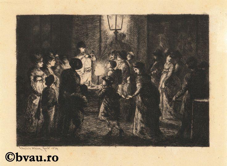 """Theodor Aman, La serata, 1874. Imagine din colecțiile Bibliotecii """"V.A. Urechia"""" Galați."""