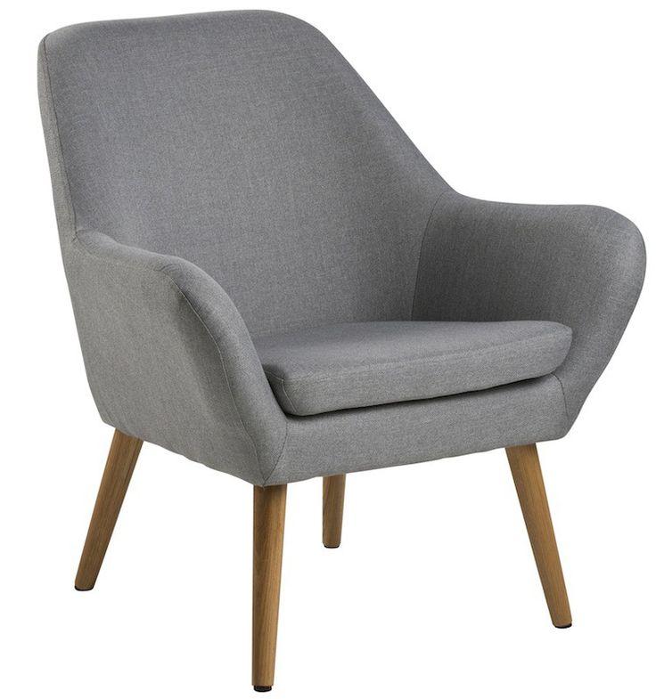 Boyd hvilestol - lys grå - Smuk hvilestol i nordisk retro stil. Stolen er betrukket med gråt stof, og har egetræs ben der fuldender stolens elegante look.