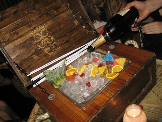 The classiest version of a fish bowl I have every seen! The Mahiki treasure chest!