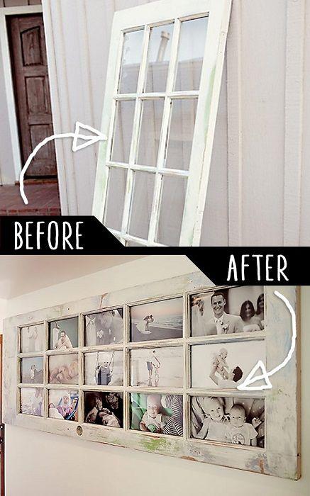 Создать фоторамку возможно даже из старой двери – интересная идея.