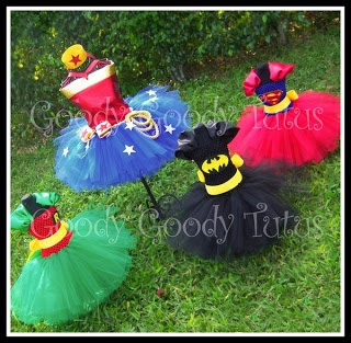 Super simple: Super hero tutu costumes for little girls by Goody Tutus - so adorable! Batman, Robin, Superman, Wonderwoman.