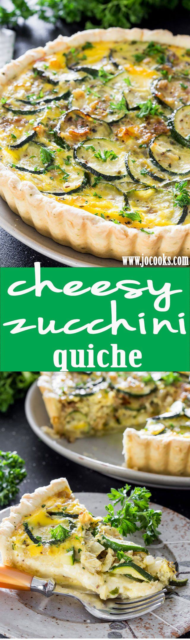 This Cheesy Zucchini Quiche is simple to make and ideal for the quiche lover in your family. It's super cheesy and perfect for meatless Monday!