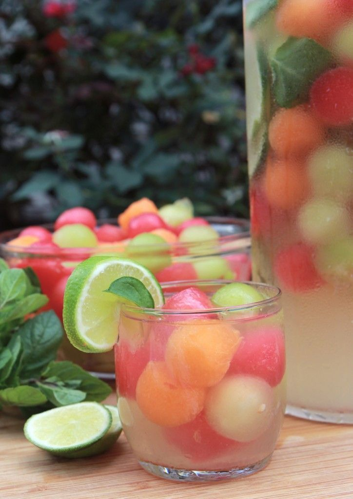 Juicy watermelon balls, tart lime slices + fresh mint leaves combine for the ultimate refreshing summer cocktail.