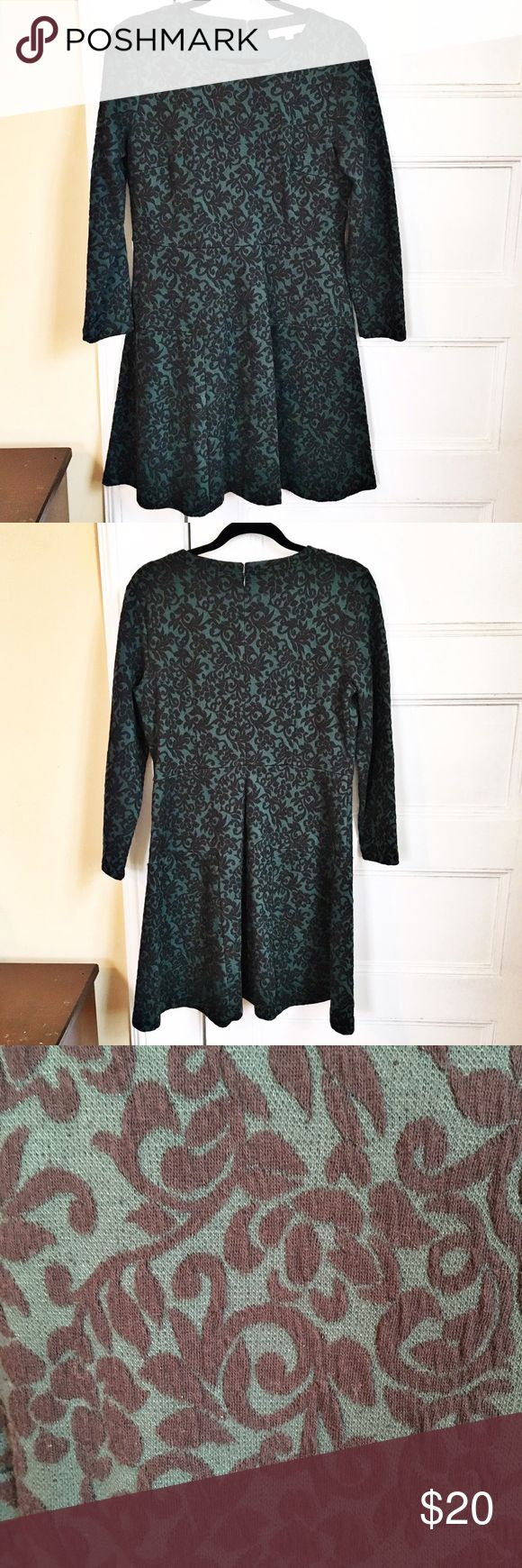 """Loft scroll jacquard dress size 12P Loft long sleeve fit and flare dress with trumpet skirt, deep green with black scroll pattern jacquard. Size 12 petite. 37"""" long and 18"""" from armpit to armpit. Excellent used condition. LOFT Dresses"""