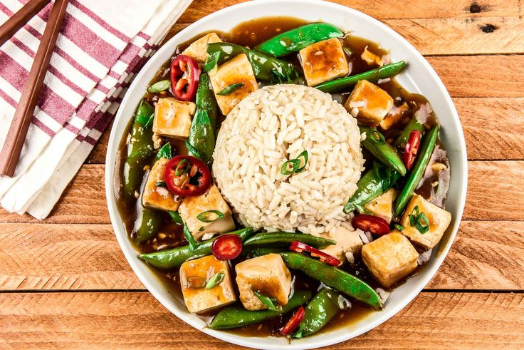 Szechuan Mapo Tofu with Sugar Snap Peas with Fresno chiles and brown ...