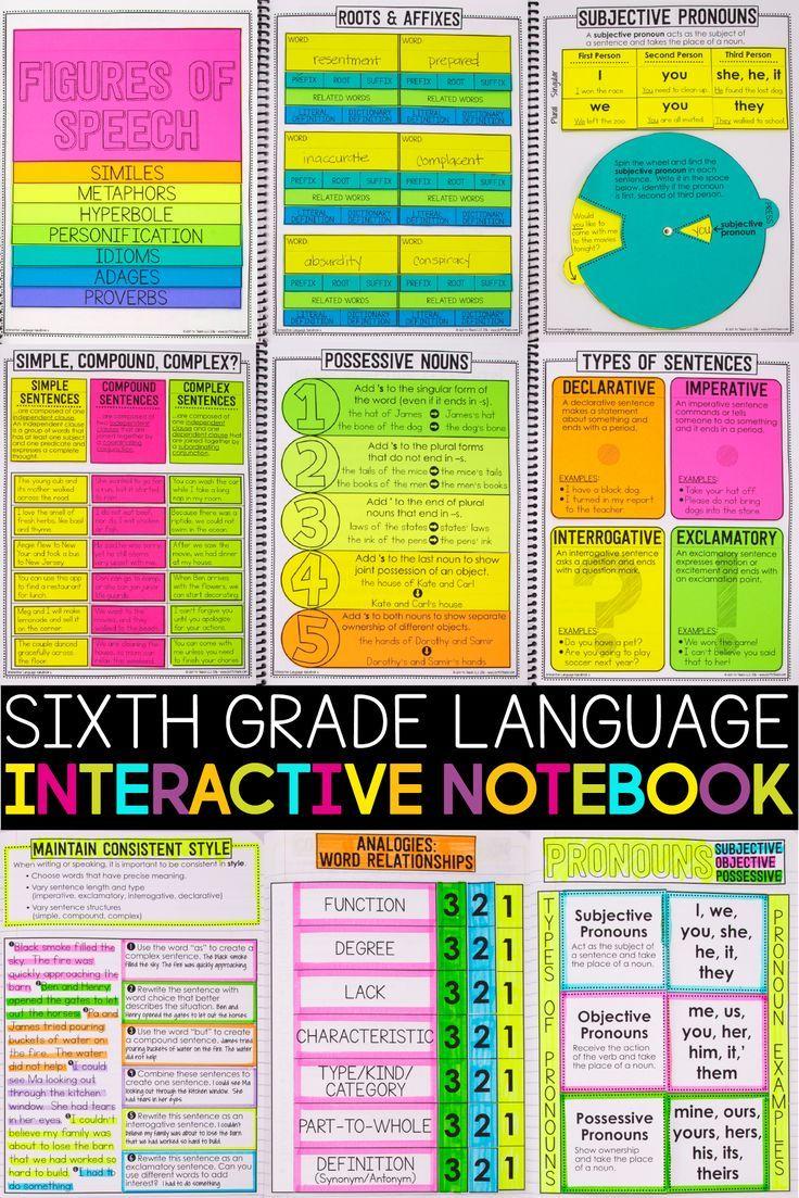 Sixth Grade Language Interactive Pocket book