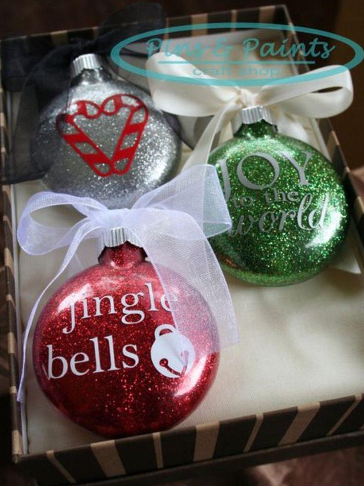 Diy Glitter Ornaments With Vinyl Decals Vinyl Christmas