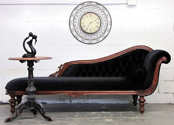 Black Velvet Victorian Lounge Chair With Stained Timber Trimmings