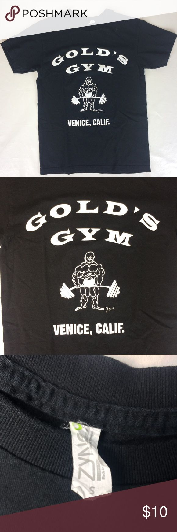Gold Gym Mens Small Gym Workout T-Shirt Black Golds Gym shirt in great shape! Shirts Tees - Short Sleeve