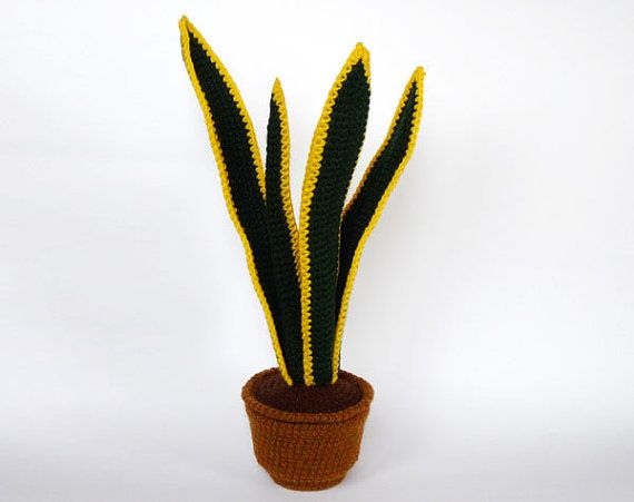 Crocheted snake plant by LunasCrafts on Etsy, $25.00 yes! the cats won't eat this!!