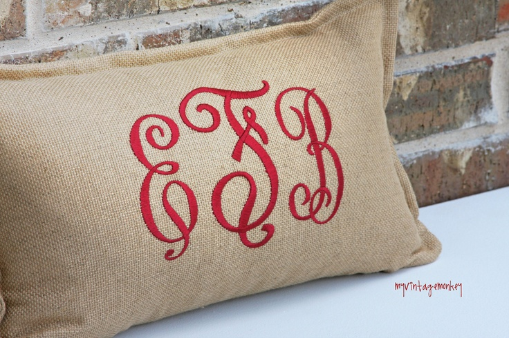 Custom Initial monogram linen pillow cover would be pretty holidays or anytime!  via ETSY --available in many colors....