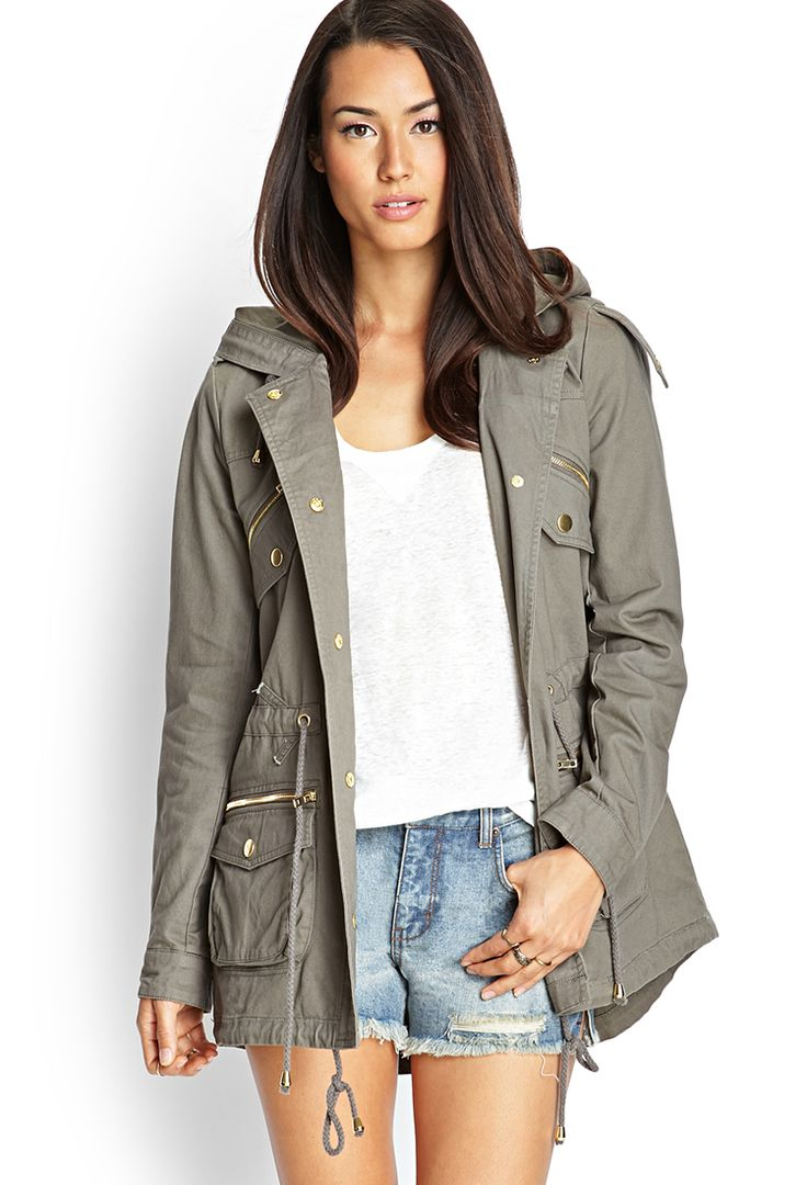 Zippered Utility Jacket | FOREVER21 #F21Contemporary Loving this. Hunting for the perfect utility jacket.