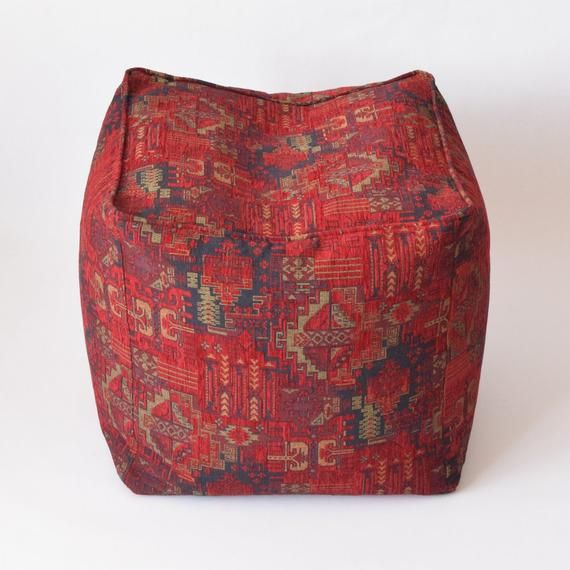 Kilim Pattern Fabric Bean Bag Pouf F02 Turkish Moroccan Persian