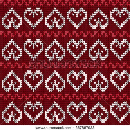 Knitted pattern with hearts