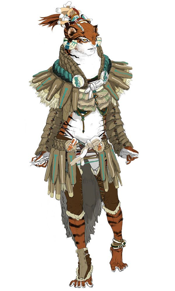 Shirn concept These are the SHIRN-KARYA (Tiger People) based on Medieval Japan //// Aion Character Design