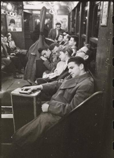 "Musicians on subway, 1946. Photo by Stanley Kubrick for Look Magazine. From his series ""Life and Love on the New York City Subway"". From the Museum of the City of New York."