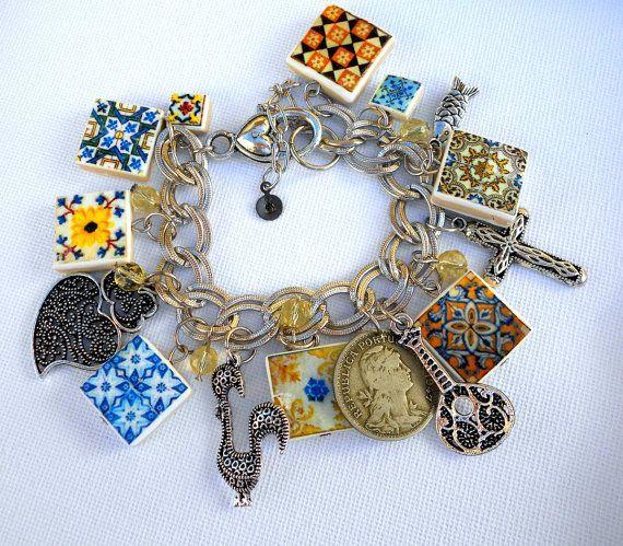 Portugal Antique Azulejo Tile Charm Bracelet  FADO ...
