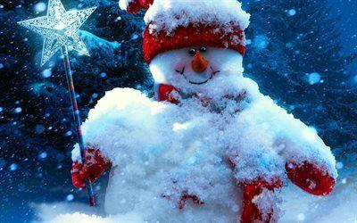 Scarica sfondi pupazzo di neve, anno nuovo, inverno, neve