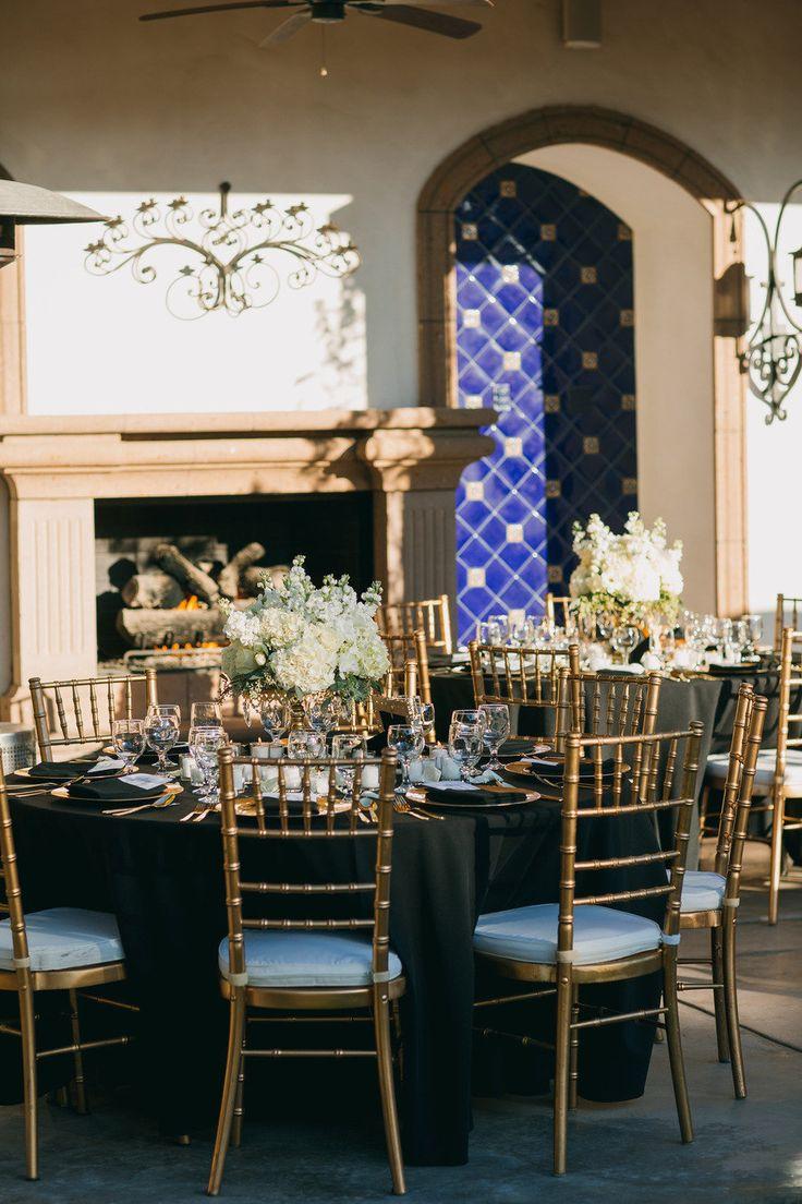 gold & black table. Coachella Valley Mansion Wedding from Apertura Hustle & Bustle
