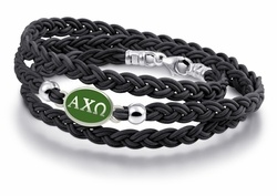 Fine Jewelry Chi Omega Enameled Sterling Silver Oval Leather Bracelet tCrp7xtu