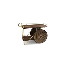 Durell Bar Cart is the perfect company to a celebratory drink. This unique bar cart has a structure made of solid walnut and a brass frame.