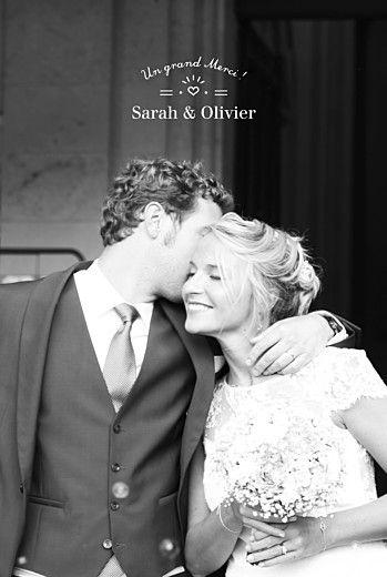 carte de remerciement mariage easy chic blanc - Montage Photo Remerciement Mariage