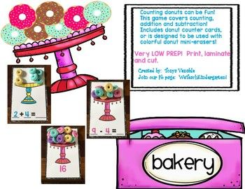 This bundle includes counting to 20, addition and subtraction to 10! It's designed to be used with mini donut erasers from our favorite shopping place on earth, OR it includes donut counting cards! It is very LOW PREP and a fun way to have a hands-on math center