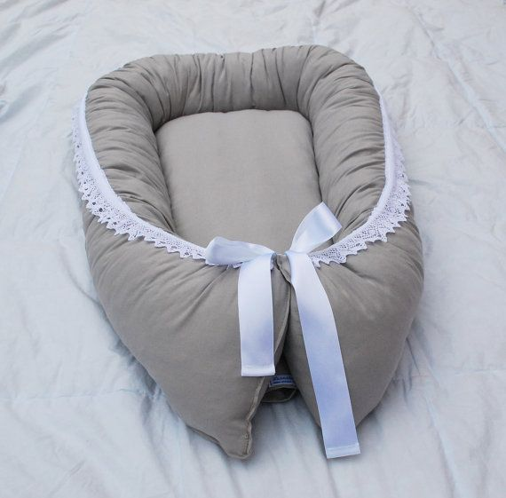 Baby sleep nest with wool filling with organic cotton by leonorafi