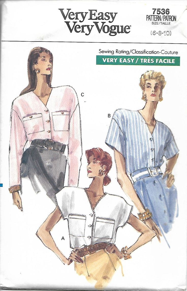 Vogue 7536 Easy Misses/Miss Petite Blouse Pattern, Size 6-10, UNCUT by DawnsDesignBoutique on Etsy