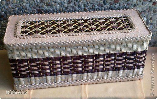 Поделка изделие Плетение Коробки-двойняшки  Бумага газетная Картон гофрированный Трубочки бумажные фото 2
