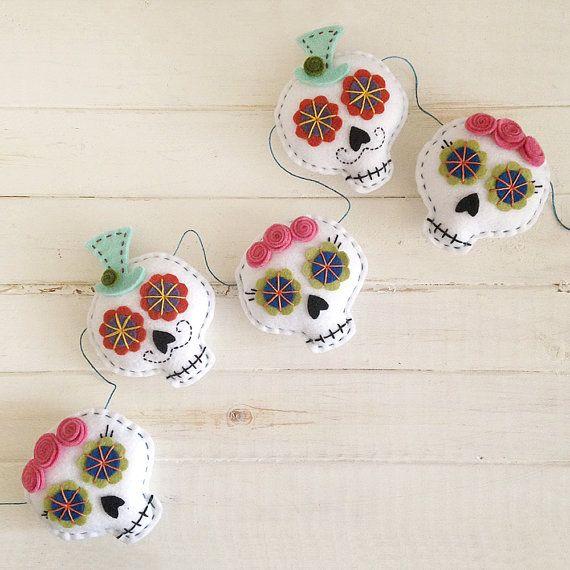 Day of the Dead Sugar Skull Felt Garland  Halloween by Fishtitch