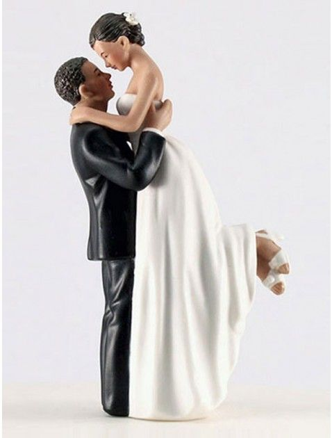 African American Bride and Groom Wedding Cake Toppers