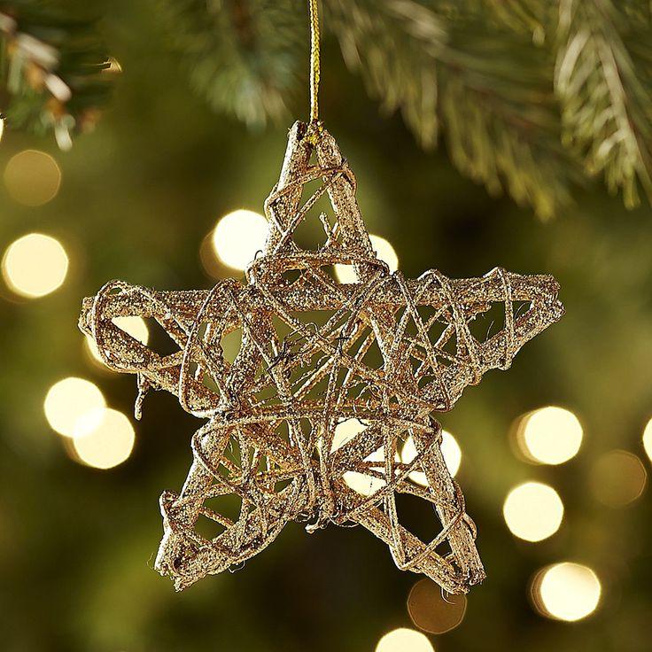 Rattan star ornament gold natural and stars