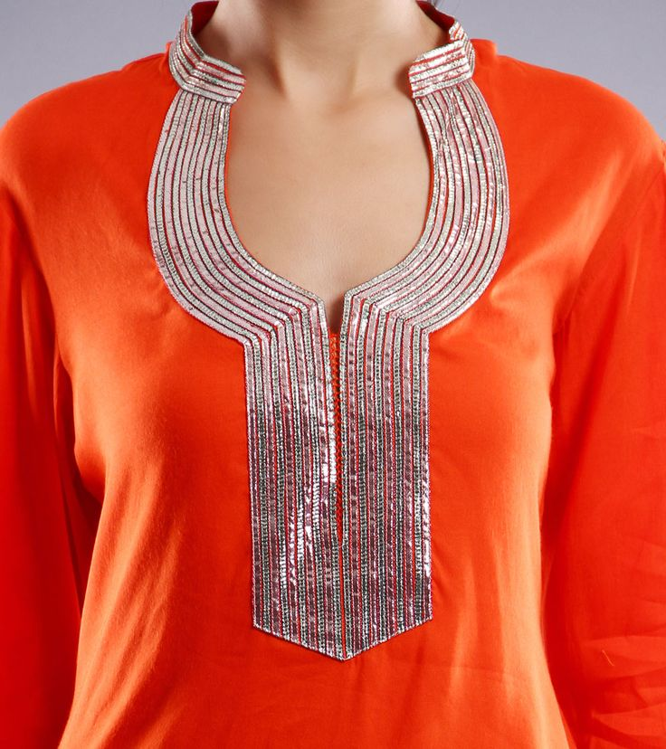 Orange Cotton Patiala Salwar Kameez With Gota Work