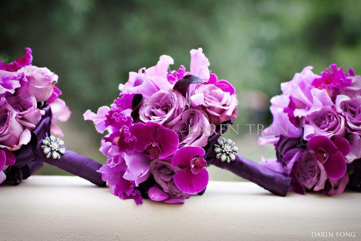 Purple bridesmaid flowers