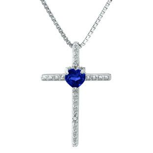 Blue Sapphire Birthstone Diamond Cross Pendant In Sterling Silver Gemologica.com offers a unique selection of pendants and necklaces. We have cool styles including circles, drops, keys and infinity symbols available in Sterling Silver, 10K, 14K and 18K yellow, rose and white gold, steel and titanium. Accented with gemstones, birthstone and diamonds. Our complete jewelry collection of pendants can be seen here: www.gemologica.com/necklaces-pendants-c-26.html