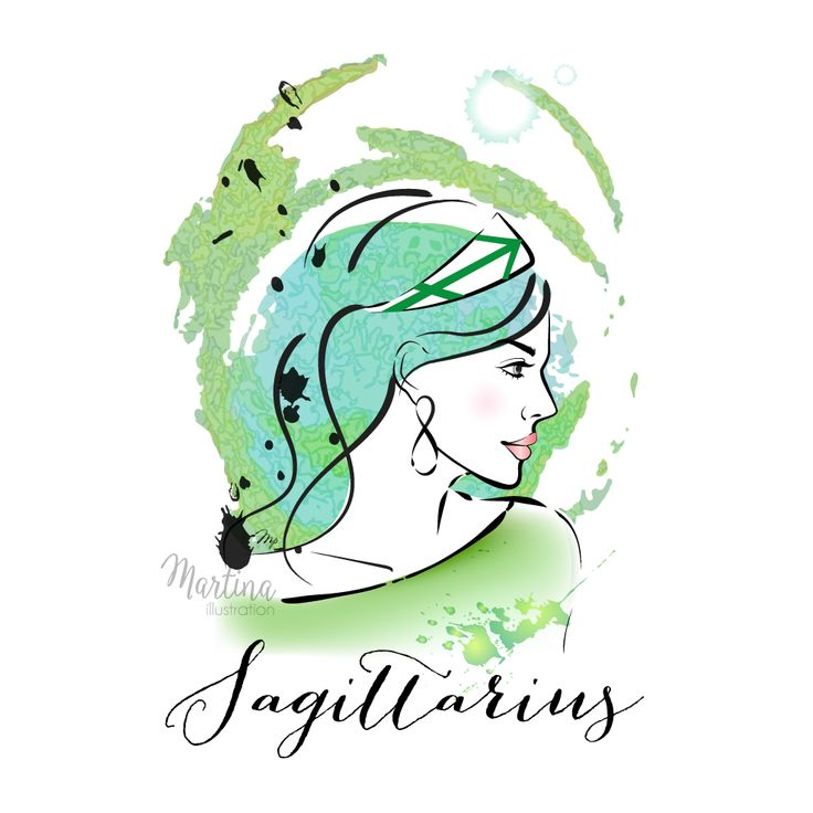 Sagittarius zodiac sign horoscope fashion illustration