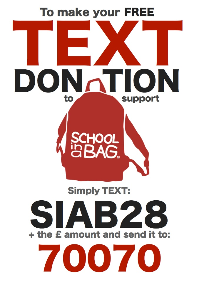 You can donate from the comfort of your arm chair and with the ease of your smart phone. Who is going to be the first to christen the new School in a Bag Pinterest page with a donation?