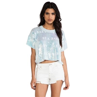 Wildfox Couture Castaway Sea Baby Tee in Baby Blue