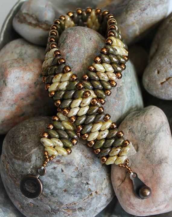 Bracciale a fascia Superduo Petite; Bracciale braccialetto; Tallone tessitura; Bracciale in bronzo; Branelli di bronzo; Braccialetto della perla di SUPERDUO; Braccialetto della perla di seme