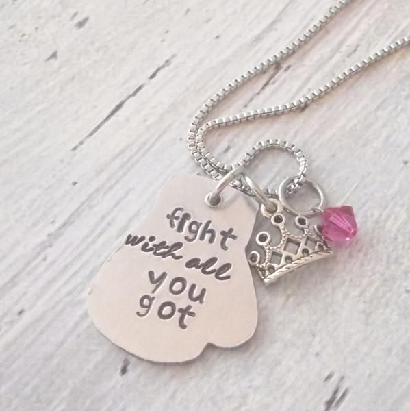 Personalized Boxing Glove Necklace Fight With All You Got, Princess Necklace, Survivor Necklace