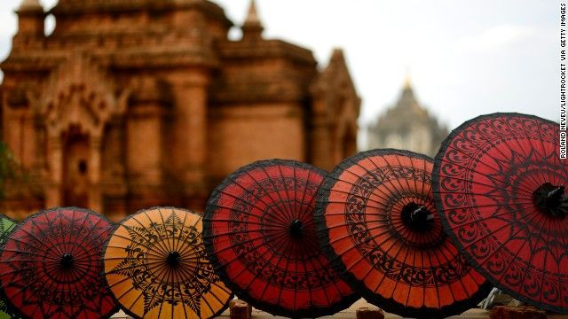 The famous 'Pathein umbrellas'. These beautiful umbrellas made in the city of Pathein is an example of Myanmar's diverse culture and rich heritage adorned with traditional crafts.