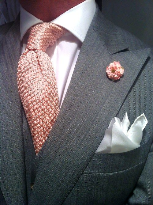 thesnobreport:    WIWT MTM light grey herringbone 3-piece suit by Ralph Lauren fitted by Lowet Tailors, crisp white T.M.Lewin shirt, pink knit Tom Ford tie, white silk pocket square by Charvet & vintage boutonnière by Heerlijk