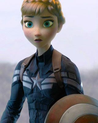 Captain America: The Winter Soldier and Frozen are mashed together in these  13 photos, and the results are fairly impressive. Chris Evans' large  Captain America frame has been reduced to match Anna's much smaller build.  Elsa is Black Widow, but the impressive part is the composting on the hair,  which is so hard to do. A few more mashups are Hans as the Winter Soldier,  Kristoff as Nick Fury, and The Duke of Weselton as Alexander Pierce.  The source site is in Korean so I'm not sure who…